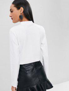 L Manga Blanco Camiseta Recortada Larga De PfRwq80