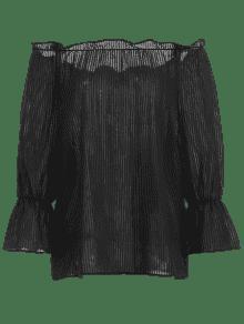 Volantes Transparente Semi De Negro Blusa qqHRw4T
