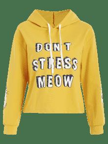 Cat Graphic Pullover Sudadera Amarillo Con Capucha Letter z8w8WtOP