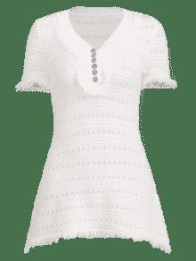Vestido C Medio Deshilachado Punto De Blanco rZrq0Pn
