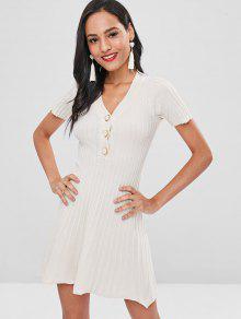 فستان مزين بزهور مضلعة - الأبيض الدافئ