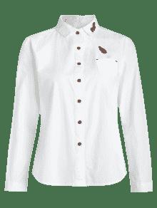 Camisa Blanco Bolsillo Con De De Bordado S Algod Delantero 243;n wnwOfpr6g