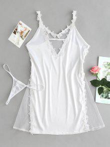 طقم لانجري سات لملابس داخلية وشيفون شفاف - أبيض
