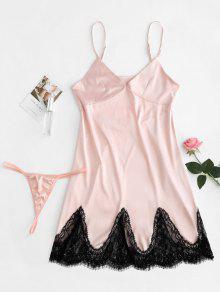 فستان ساتان زلة وزرة لانجري G String - بينك الزهر L