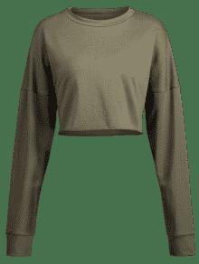 Sudadera Cuello Ejercito Verde Dobladillo Con S 8aqr80T
