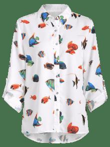 Fluida Camisa De Casual Estampado Blanco Pescado S awtqnE1