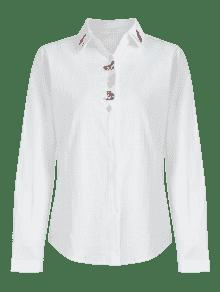 Gato Bordada Casual De Camisa Blanco S BYg8xp