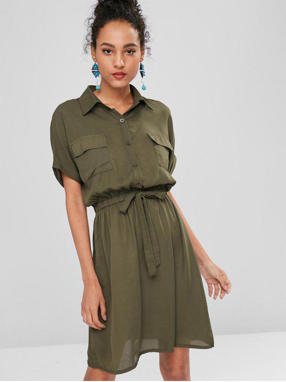 Selbst Riemchen Shirt Kleid - Tarnanstrich Grün S