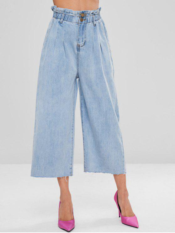lady Bleached High Waisted Wide Leg Jeans - LIGHT BLUE L