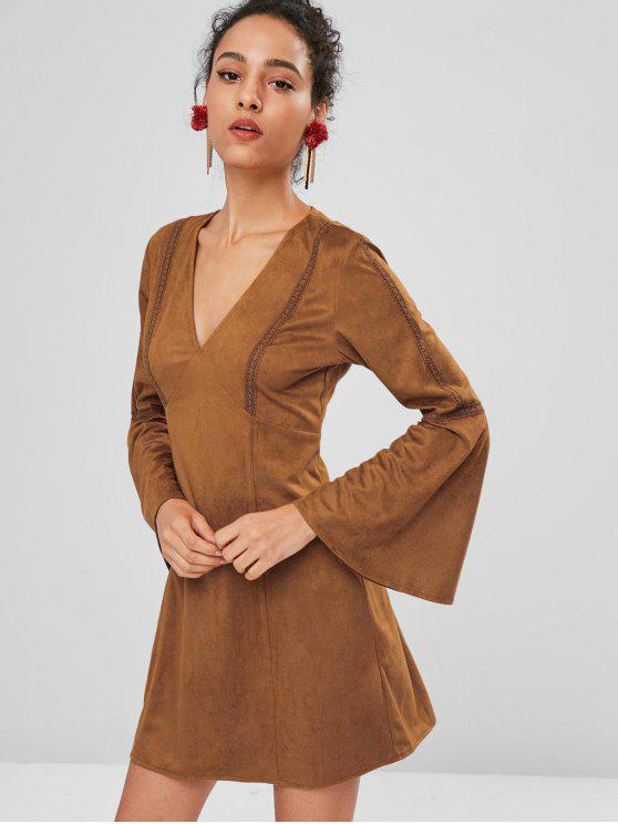 affordable Flare Sleeve Faux Suede Mini Dress - LIGHT BROWN S