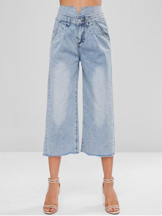 affordable Frayed Hem Capri Jeans - DENIM BLUE M