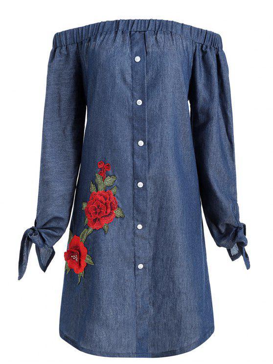 Plus Size Floral Applique Chambray Vestido de hombro - Azul Denim 3XL