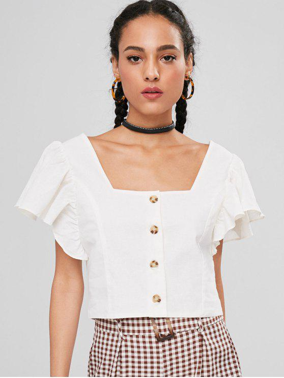 fancy Butterfly Sleeve Square Neck Crop Top - WHITE M