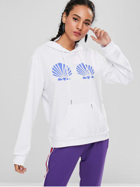 best Relaxed Seashell Print Kangaroo Pocket Hoodie - WHITE L