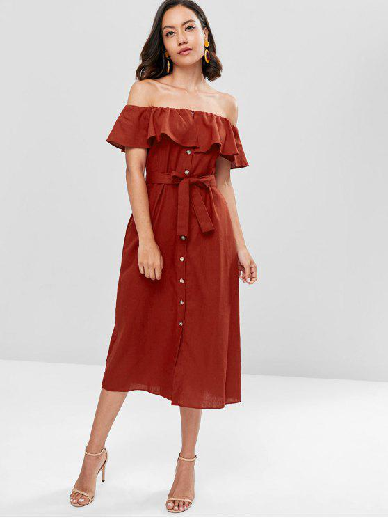 affordable Off The Shoulder Ruffle Midi Dress - RED WINE S