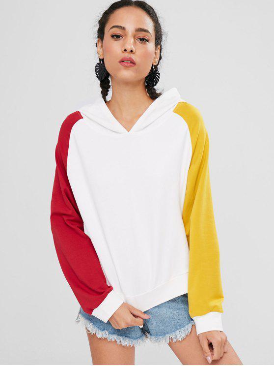 fancy Loose Contrasting Raglan Sleeve Hoodie - WHITE L