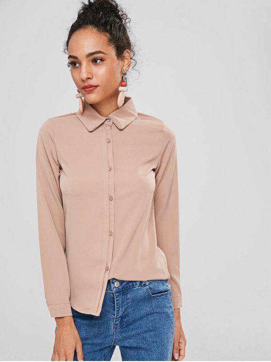 womens Button Up Plain Shirt - TAN L