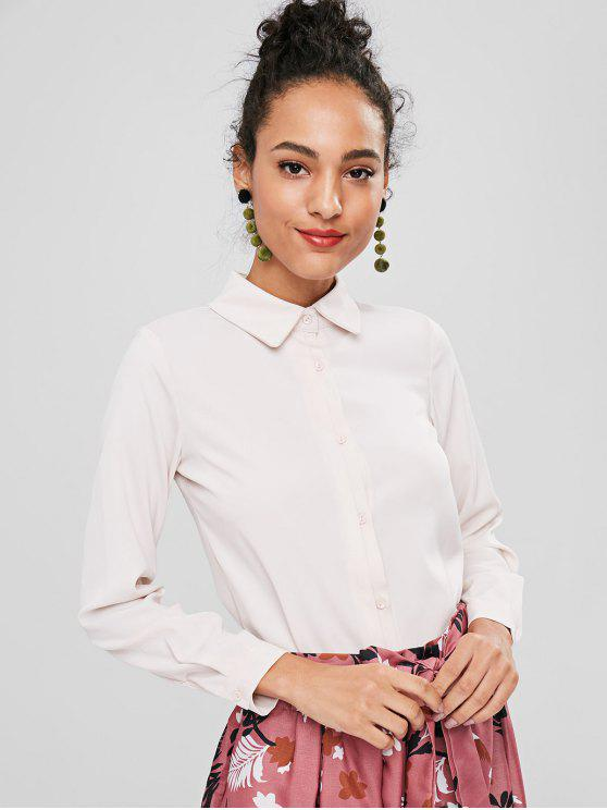unique Button Up Plain Shirt - WARM WHITE L