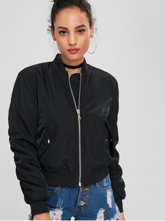 unique Zip Up Bomber Quilted Jacket - BLACK S