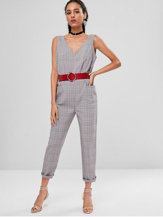 Patched Pockets Plaid Jumpsuit   Multi L by Zaful
