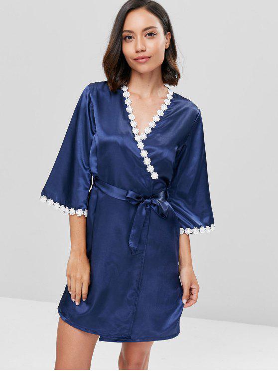 قميص من الدانتيل بلون الساتان النقي ومجموعة من رداء النوم - البحريه الزرقاء 2XL
