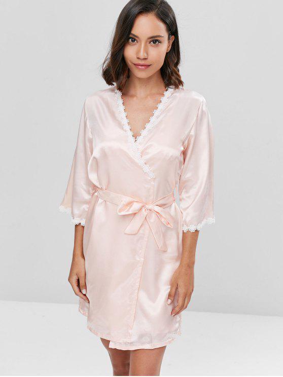 Contraste Lace Satin Chemise e Sleeping Robe Set - Damasco L