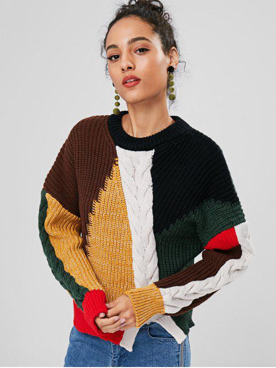 chic Slit Cable Knit Color Block Sweater - MULTI ONE SIZE