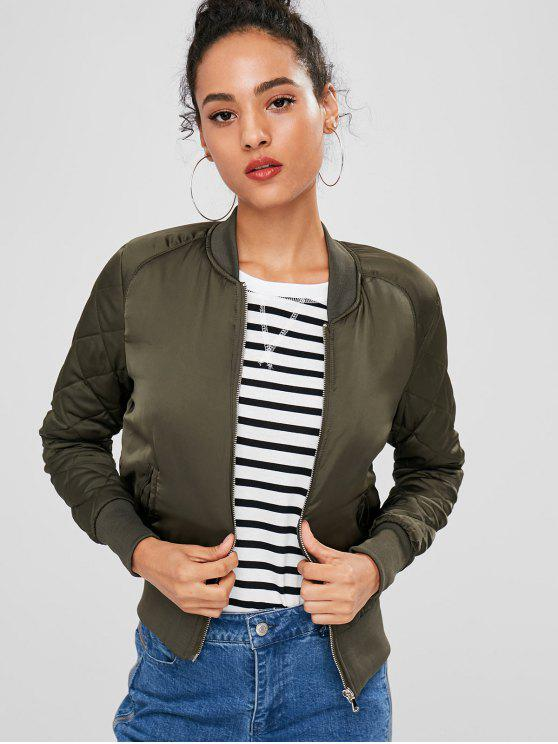 new Zip Up Quilted Jacket - ARMY GREEN M