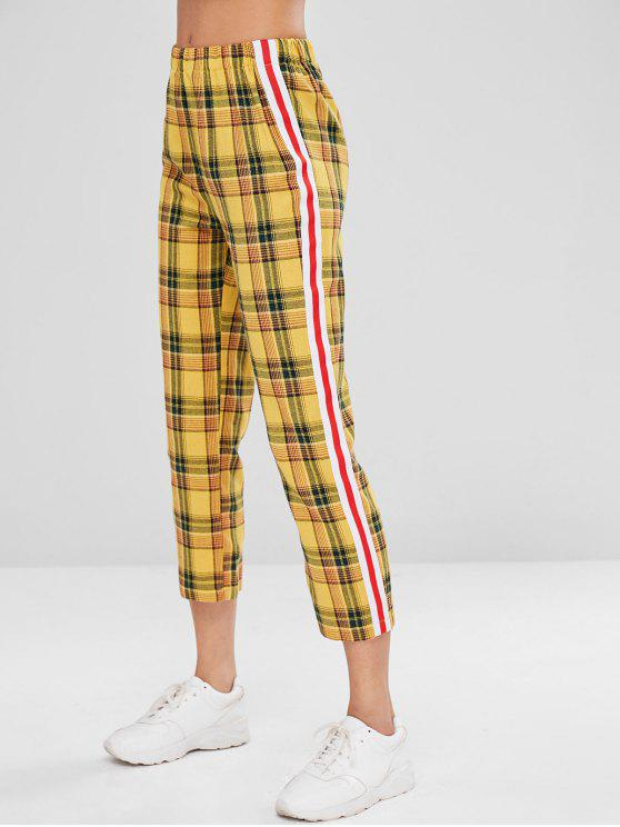 women Side Stripe Checked Herringbone High Waisted Pants - MULTI M
