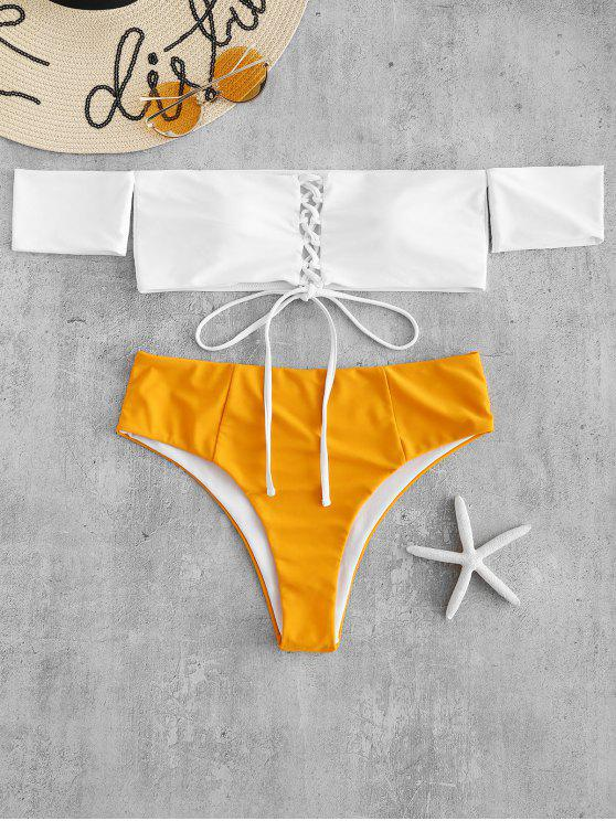 fashion Color Block Lace Up Bikini Set - BRIGHT YELLOW L