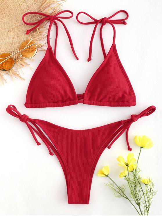 unique Tie Shoulder String Bikini - LAVA RED L