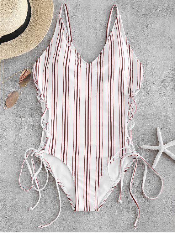 مخطط الرباط حتى عارية الذراعين ملابس السباحة - أبيض M