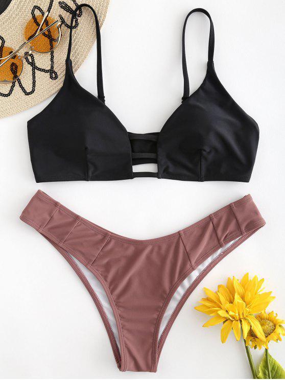 outfit Lattice Bralette Bikini Set - BLACK L