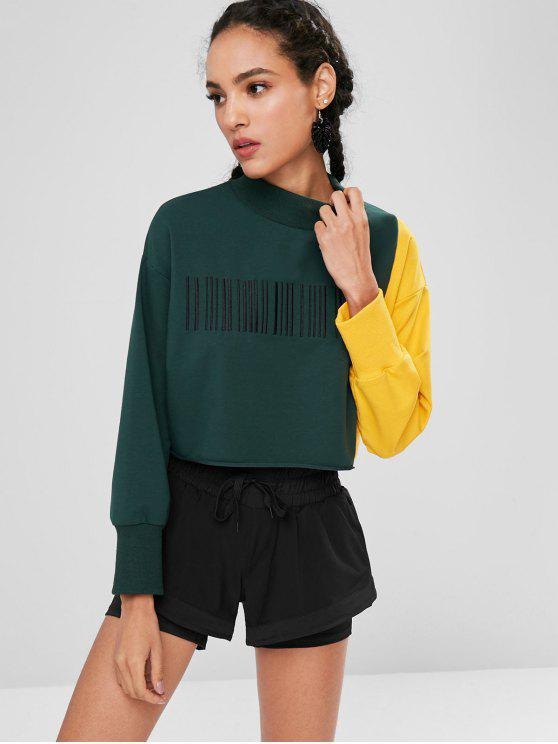 outfit ZAFUL Embroidered Two Tone Sweatshirt - DEEP GREEN L