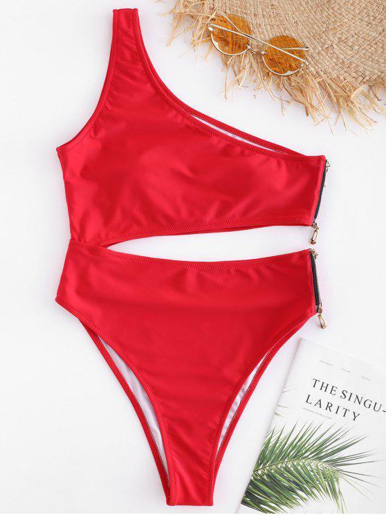 Traje de baño de cremallera de un hombro - Amo Rojo S