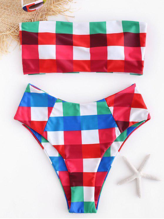 ladies Plaid Bandeau Bikini Set - MULTI S