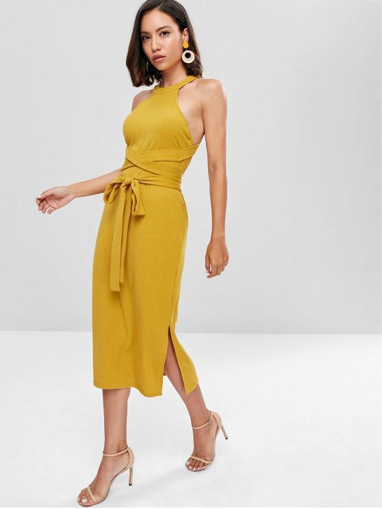 fancy Slit Cut Out Midi Dress - GOLDEN BROWN S