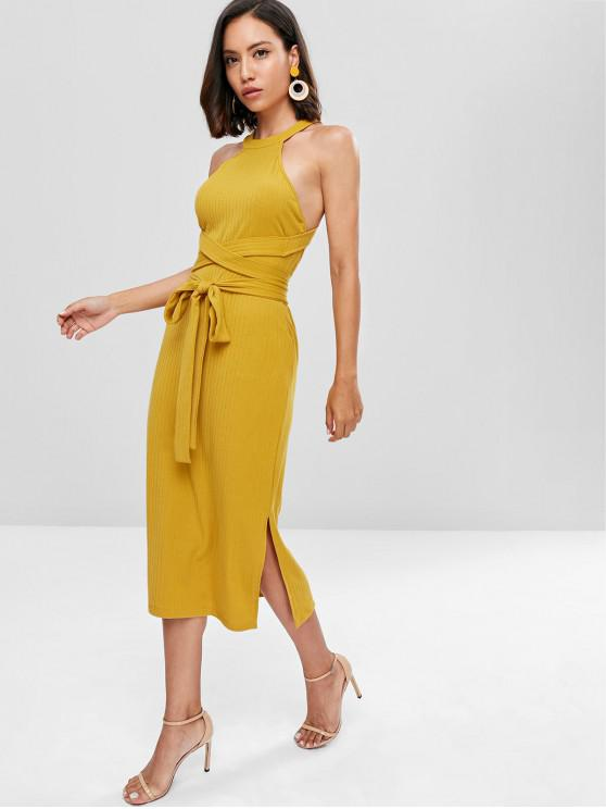 sale Slit Cut Out Midi Dress - GOLDEN BROWN L