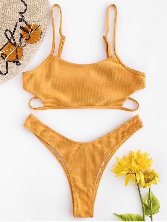 women's Bralette Ribbed Bikini Set - BRIGHT YELLOW M