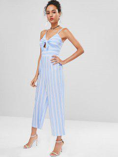 Smocked Striped Wide Leg Jumpsuit - Powder Blue M
