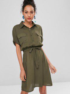 Self-tie Shirt Dress - Camouflage Green M