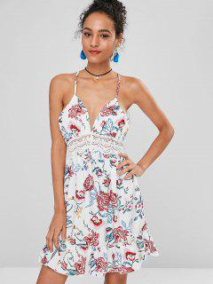 Crochet Panel Floral Open Back Dress - White Xl