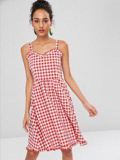 Smocked Kariertes Kleid - Kastanie Rot