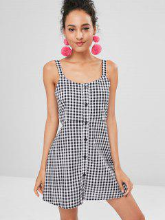 Gingham Button Front A Line Mini Dress - Multi L