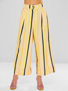 Pantalones Culotte De Pierna Ancha A Rayas - Amarillo De Sol  S