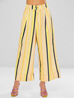 Striped Wide Leg Culotte Pants - Sun Yellow M