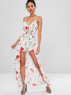 Floral Lace-up Cami Romper Dress - Multi M