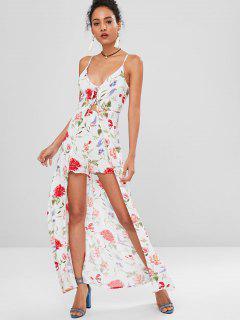 Vestido Camisero Floral Con Cordones - Multicolor L
