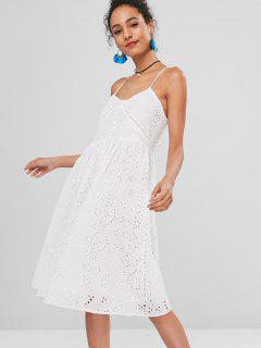 Cross Strap Eyelet Cami Casual Dress - White L