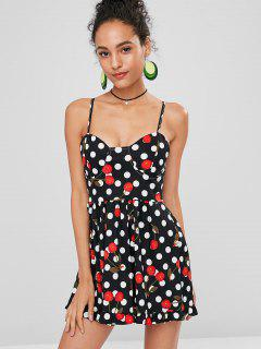 Polka Dot Cherry Cami Dress - Black